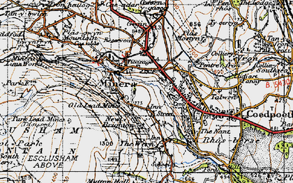 Old map of Minera in 1947