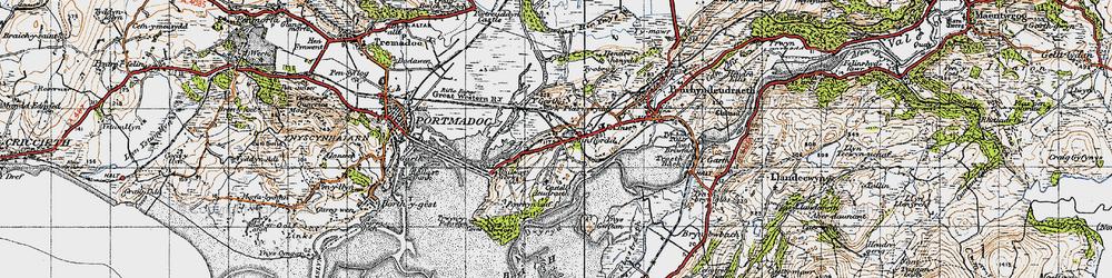 Old map of Ynys Gifftan in 1947