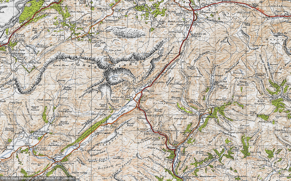 Old Map of Historic Map covering Afon Fawnog in 1947