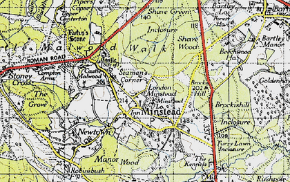 Old map of Minstead in 1940