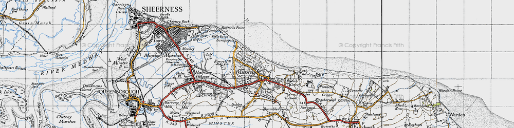 Old map of Minster in 1946