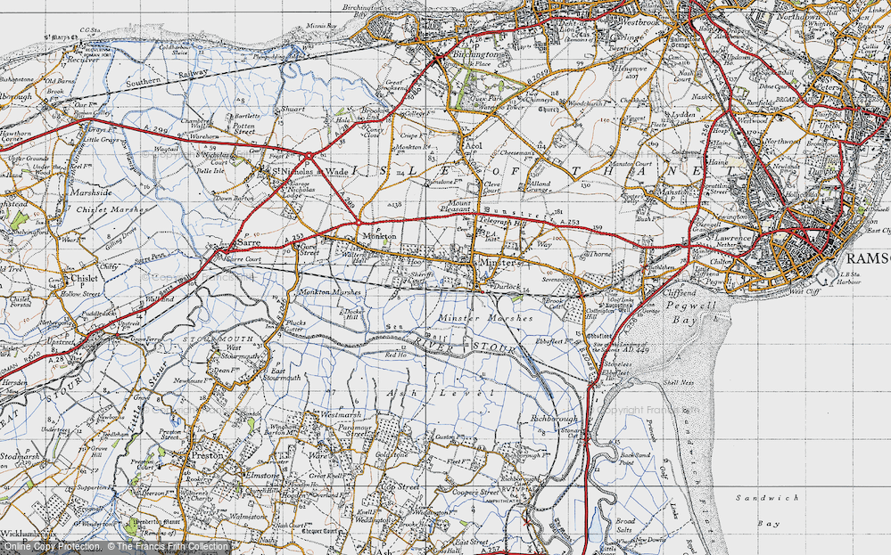 Old Map of Historic Map covering Abbot's Wall in 1947