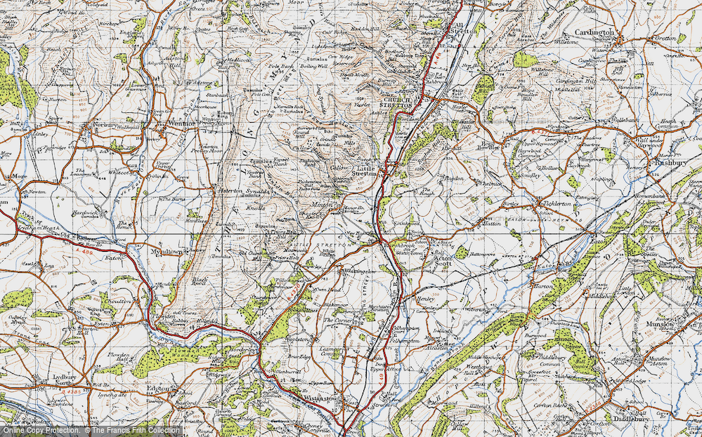 Old Map of Historic Map covering Oakwood in 1947