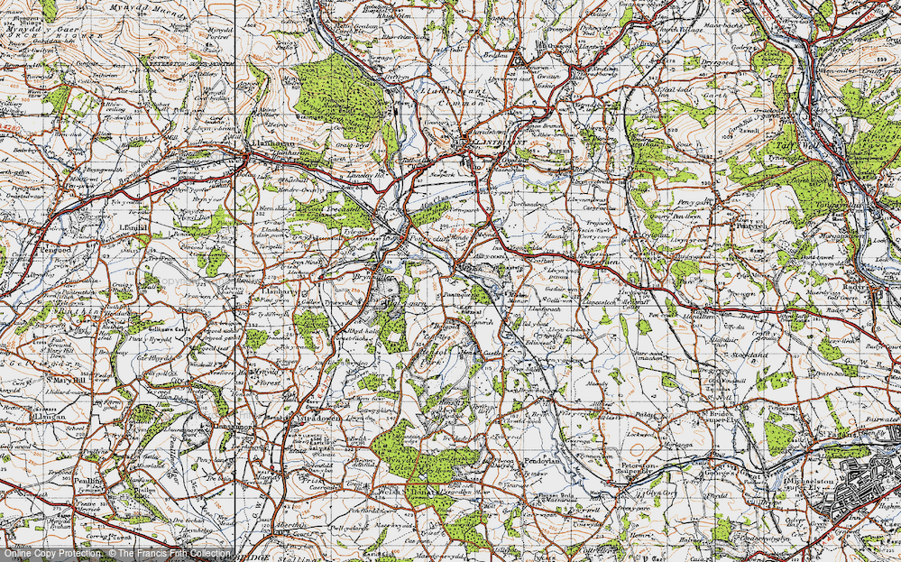 Old Map of Miskin, 1947 in 1947