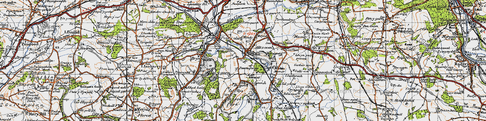 Old map of Miskin in 1947