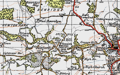 Old map of Mitford in 1947