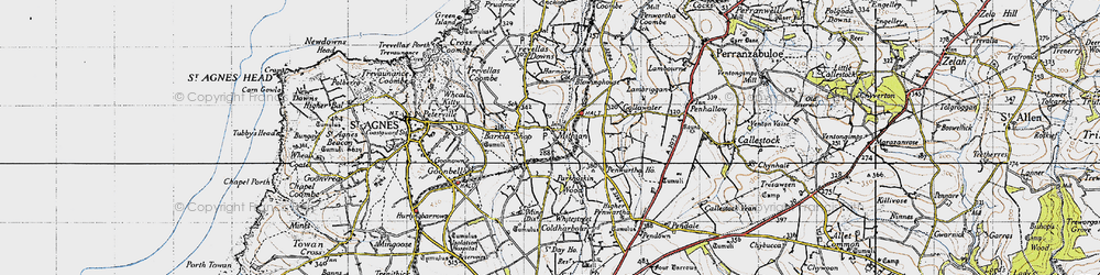 Old map of Mithian in 1946