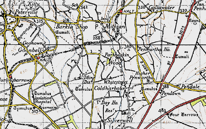 Old map of Mithian Downs in 1946