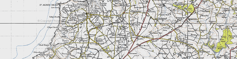 Old map of Whitestreet in 1946