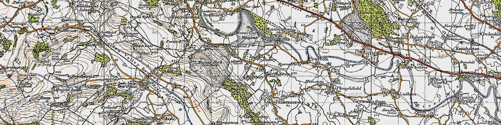 Old map of Woodbury Hill Wood in 1947