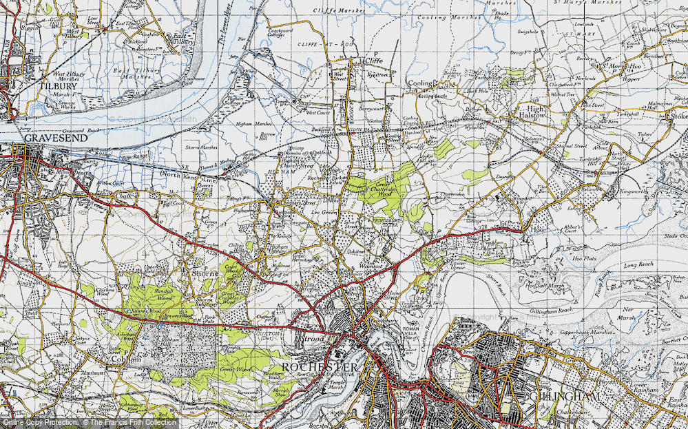 Old Map of Historic Map covering Lee Green in 1946
