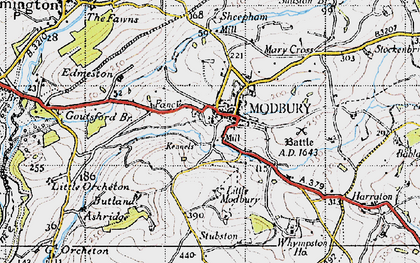 Old map of Modbury in 1946