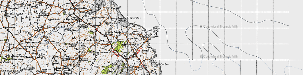 Old map of Ynys Moelfre in 1947