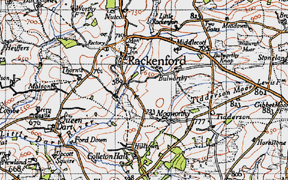 Old map of Witheridge Moor in 1946