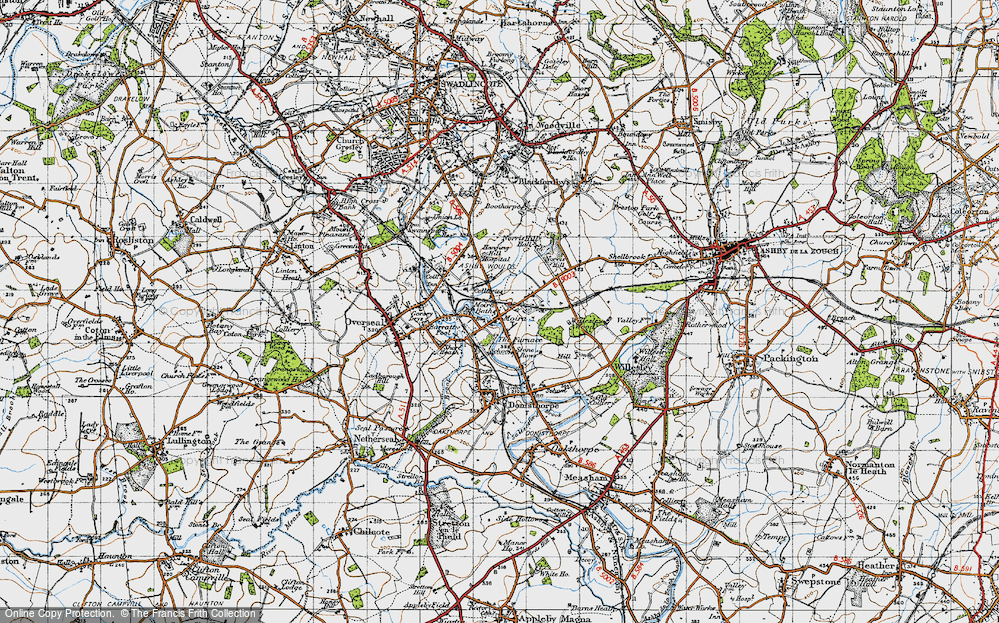 Old Map of Historic Map covering Ashby-de-la-Zouch Canal in 1946