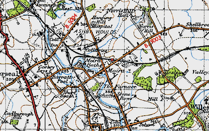 Old map of Ashby-de-la-Zouch Canal in 1946