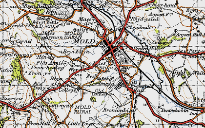 Old map of Mold in 1947