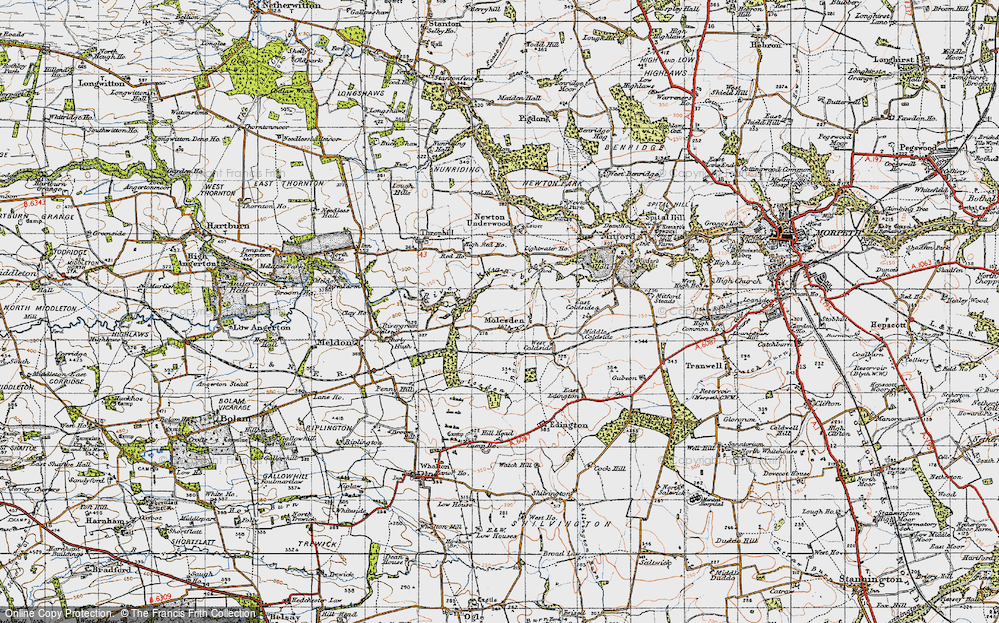 Old Map of Historic Map covering Lightwater Ho in 1947