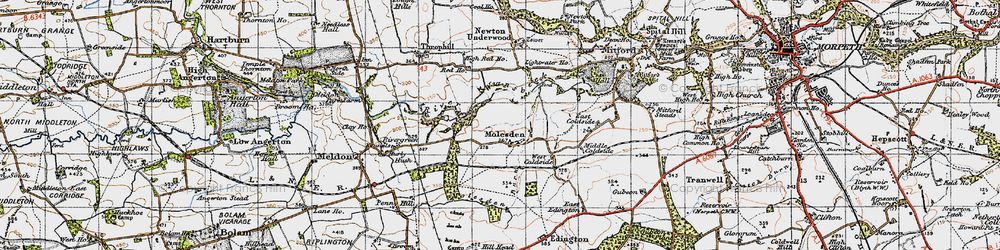 Old map of Lightwater Ho in 1947