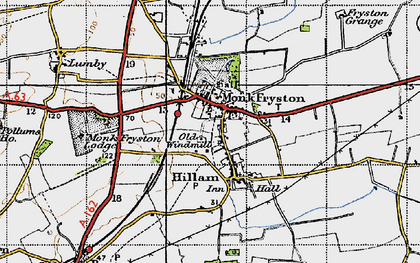 Old map of Monk Fryston in 1947