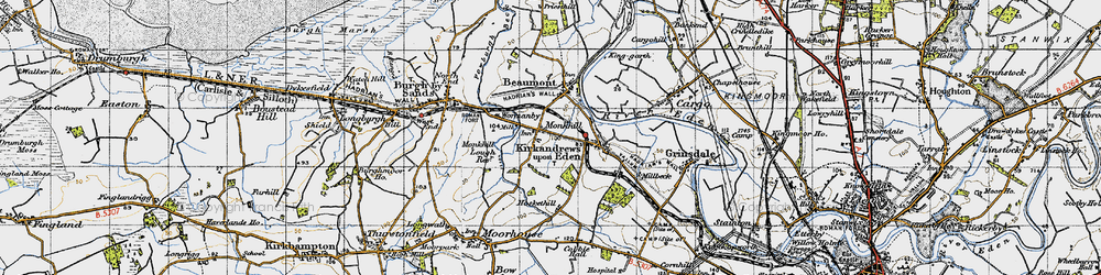 Old map of Wormanby in 1947