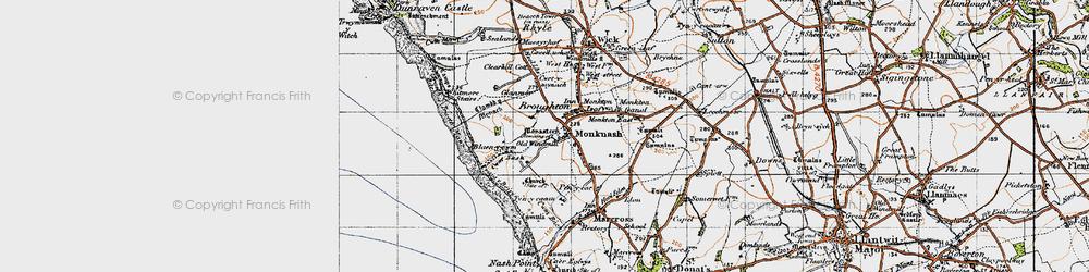 Old map of Monknash in 1947