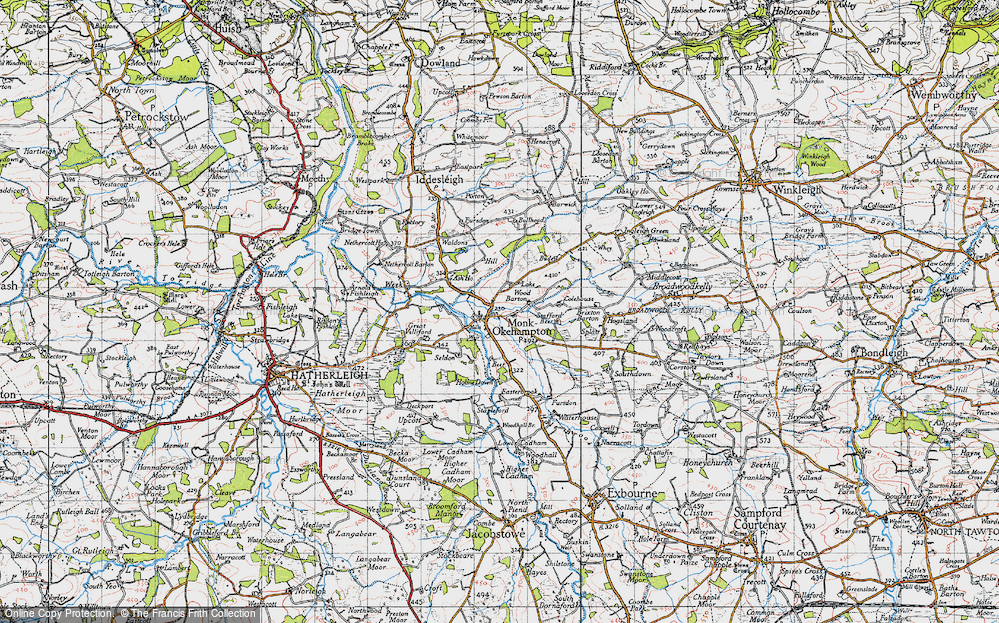 Old Map of Historic Map covering Wood Barton in 1946
