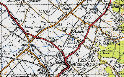 Old map of Monks Risborough in 1947