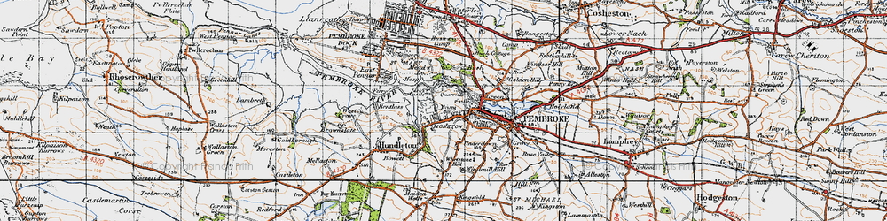 Old map of Monkton in 1946