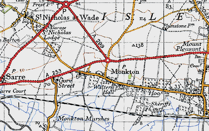 Old map of Monkton in 1947
