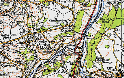 Old map of Monkton Combe in 1946