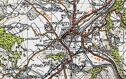 Old map of Monmouth in 1946