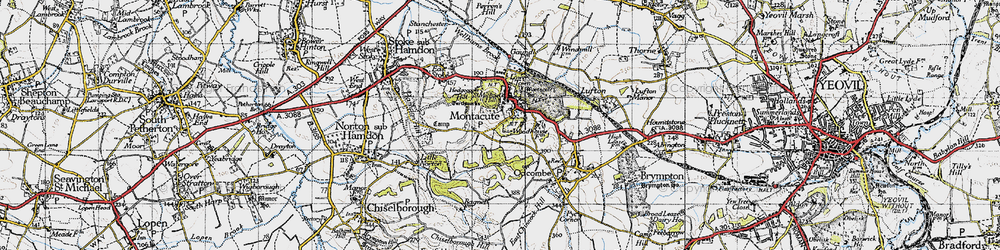 Old map of Montacute in 1945