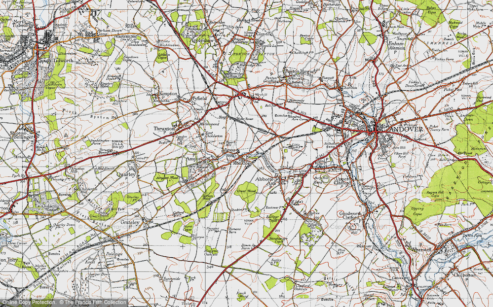 Old Map of Monxton, 1945 in 1945