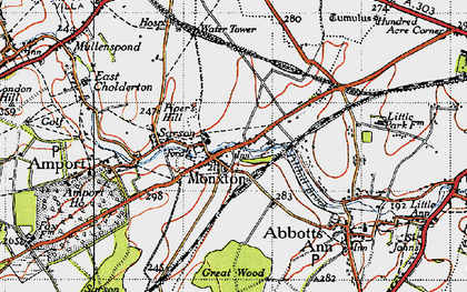 Old map of Monxton in 1945
