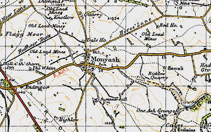 Old map of Monyash in 1947