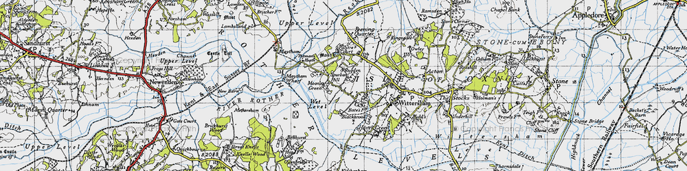 Old map of Wittersham Manor in 1940