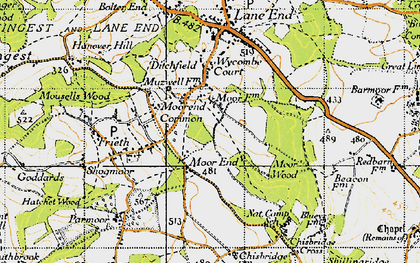 Old map of Moor Common in 1947