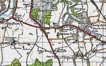 Old map of Wetherby Grange in 1947