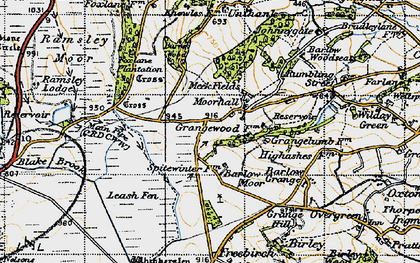 Old map of Moorhall in 1947