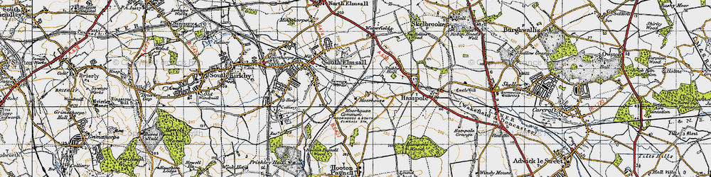 Old map of Moorhouse in 1947