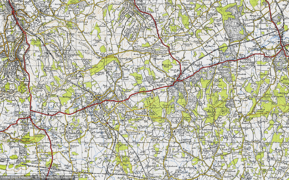 Old Map of Historic Map covering Titsey Wood in 1946
