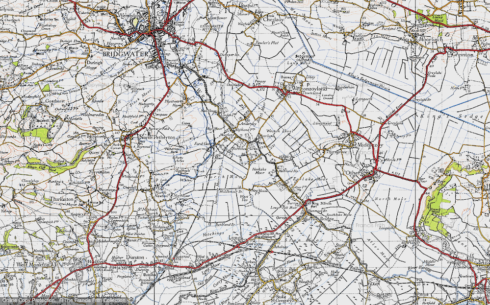 Old Map of Moorland, 1945 in 1945