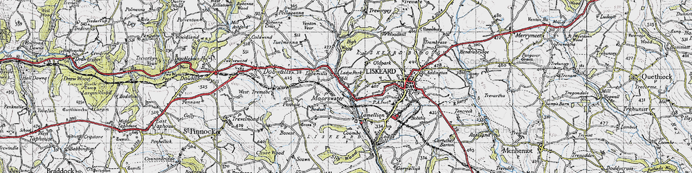 Old map of Moorswater in 1946