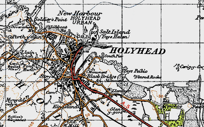 Old map of Ynys Peibio in 1947