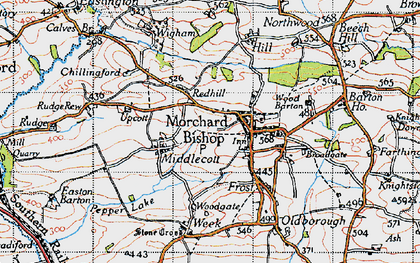 Old map of Bishopsleigh in 1946
