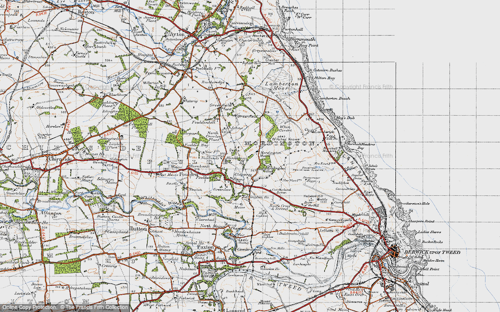 Old Map of Historic Map covering Woodhills in 1947
