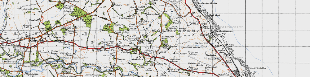 Old map of Woodhills in 1947