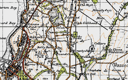 Old map of Abbey Flatts in 1947