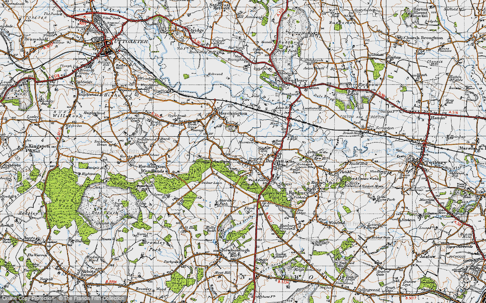 Old Map of Historic Map covering Banktop Wood in 1946